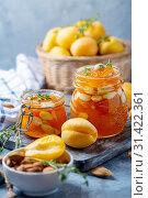 Купить «Homemade apricot jam with thyme and sweet almonds», фото № 31422361, снято 7 июля 2019 г. (c) Марина Сапрунова / Фотобанк Лори