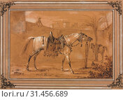 Saddled Arabian Horse in Courtyard, 1820. Carle Vernet (French, 1758-1836). Pen and brown ink, brown wash, with gray wash, over black chalk or crayon,... (2019 год). Редакционное фото, фотограф Liszt Collection / age Fotostock / Фотобанк Лори