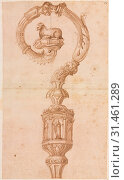 Design for a Crozier, mid 1500s. Luzio Romano (Italian, active 1528-75). Pen and brown ink and brush and brown wash, pricked (bottom half), sheet: 38.8... (2019 год). Редакционное фото, фотограф Liszt Collection / age Fotostock / Фотобанк Лори