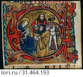 Купить «Three Cuttings from a Missal: Initial C with the Adoration of the Magi, c. 1470-1500. Germany, Franconia or Saxony (?) or Silesia (?), 15th century. Ink...», фото № 31464193, снято 14 февраля 2019 г. (c) age Fotostock / Фотобанк Лори
