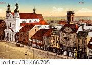 Buildings in Chomutov, Churches in Chomutov, Market squares in the Czech Republic, 1912, Ústí nad Labem Region, Komotau, Markt (2019 год). Редакционное фото, фотограф Copyright Liszt Collection / age Fotostock / Фотобанк Лори