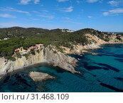 Купить «Aerial phto of Palma de Mallorca coastal seaside stony beaches turquoise colored Mediterranean Sea water panoramic waterside view from above, Balearic Islands, Spain», фото № 31468109, снято 27 мая 2019 г. (c) Alexander Tihonovs / Фотобанк Лори