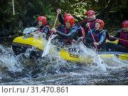 Купить «White water rafting at the National White Water Centre on the River Tryweryn, near Bala, Wales.», фото № 31470861, снято 28 января 2020 г. (c) age Fotostock / Фотобанк Лори