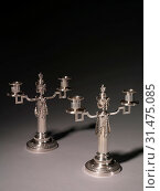 Candelabrums, 1887-1890. Firm of Peter Carl Fabergé (Russian, 1846-1920), Julius Alexandrovitch Rappoport (Russian, 1916). Silver, overall: 28.5 x 25.1 x 12 cm (11 1/4 x 9 7/8 x 4 3/4 in.). (2019 год). Редакционное фото, фотограф Liszt Collection / age Fotostock / Фотобанк Лори