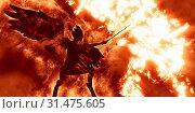 Illustration of diabolic demon in hell - 3D rendering. Стоковое фото, фотограф YAY Micro / easy Fotostock / Фотобанк Лори