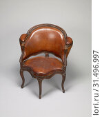 Купить «Desk Chair, Attributed to Étienne Meunier (Menuisier) (French (master 1732)), Paris, France, about 1735, Walnut with leather upholstery, silk velvet linings...», фото № 31496997, снято 7 сентября 2018 г. (c) age Fotostock / Фотобанк Лори