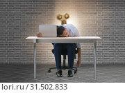 Купить «Employee losing energy from too much work», фото № 31502833, снято 23 июля 2019 г. (c) Elnur / Фотобанк Лори