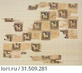 Fragment with gold leaf lions, 1000s - 1100s. Iran or Iraq, Seljuk period. Plain weave: silk warp and cotton weft (mulham), block printed and gold leaf, overall: 32.1 x 40 cm (12 5/8 x 15 3/4 in.) (2019 год). Редакционное фото, фотограф Liszt Collection / age Fotostock / Фотобанк Лори