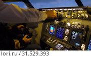 Купить «Civil aircraft cockpit.», видеоролик № 31529393, снято 13 апреля 2019 г. (c) Игорь Жоров / Фотобанк Лори