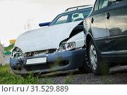 Купить «car crash accident on street. damaged automobiles», фото № 31529889, снято 14 июля 2018 г. (c) Дмитрий Калиновский / Фотобанк Лори