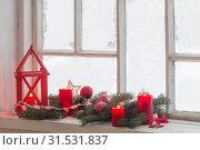Купить «Christmas decorations on old wooden window», фото № 31531837, снято 9 января 2019 г. (c) Майя Крученкова / Фотобанк Лори