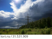 Купить «Electric wires and masts with field, meadows and forests and beautiful thunder clouds in the sky block the sunlight», фото № 31531909, снято 6 июля 2019 г. (c) Яна Королёва / Фотобанк Лори