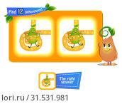 Купить «12 differences funny fruit pear», иллюстрация № 31531981 (c) Седых Алена / Фотобанк Лори