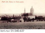 Schloss Ruhethal, Stadtkirche St. Johannis (Mügeln), 1915, Landkreis Nordsachsen, Mügeln, Mügeln von Westen, Germany (2019 год). Редакционное фото, фотограф Copyright Liszt Collection / age Fotostock / Фотобанк Лори