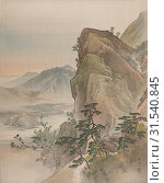 Купить «Landscape, Meiji period (1868–1912), 1800, Japan, Album leaf, ink and color on silk, 14 1/2 x 11 1/2 in. (36.8 x 29.2 cm), Paintings, Kawabata GyokushÅ (Japanese, 1842–1913)», фото № 31540845, снято 8 мая 2017 г. (c) age Fotostock / Фотобанк Лори