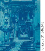 Купить «Interior of the Cathedral, Pisa, Italy, Anonymous, c. 1900 - c. 1925, Cyanotype, a photographic printing process that produces a cyan-blue print», фото № 31546645, снято 21 августа 2016 г. (c) age Fotostock / Фотобанк Лори