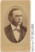 Man with long, groomed muttonchops, printed in quasi-oval style, Peter S. Weaver (American, active Hanover, Pennsylvania 1860s - 1910s), 1865-1870, Albumen silver print (2018 год). Редакционное фото, фотограф © Liszt Collection / age Fotostock / Фотобанк Лори