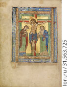 Initial T: The Crucifixion, Steinfeld, Germany, about 1180, Tempera colors, gold, silver, and ink on parchment, Leaf: 25.2 x 17.9 cm (9 15,16 x 7 1,16 in.) (2018 год). Редакционное фото, фотограф © Liszt Collection / age Fotostock / Фотобанк Лори