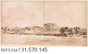 Купить «The Villa Loredan, near Treviso, ca. 1778, Pen and brown ink, brush and brown wash, touches of white gouache, over black chalk, 15-9/16 x 30-1/4 in. (39...», фото № 31570145, снято 21 мая 2017 г. (c) age Fotostock / Фотобанк Лори