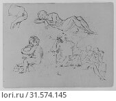 Купить «Five Figure Studies (from Sketchbook), 1810–20, Ink, wash, on paper, 9 x 11 1/2 in. (22.9 x 29.2 cm), Drawings, Thomas Sully (American, Horncastle, Lincolnshire...», фото № 31574145, снято 7 мая 2017 г. (c) age Fotostock / Фотобанк Лори