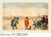 Hendrick Avercamp, Dutch (1585-1634), Winter Games on the Frozen River Ijssel, c. 1626, pen and black and gray ink with watercolor, gouache, and graphite on laid paper, laid down (2014 год). Редакционное фото, фотограф Artokoloro / age Fotostock / Фотобанк Лори