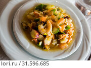 Купить «Dish of mediterranean cuisine, seafood stewed wit hvegetables and sauce», фото № 31596685, снято 17 июля 2019 г. (c) Яков Филимонов / Фотобанк Лори