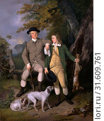 Portrait of a Sportsman with His Son A Sportsman with his Son and Dogs Signed and dated, lower right: 'F Wheatley | pxt: 1779', Francis Wheatley, 1747-1801, British (2014 год). Редакционное фото, фотограф Artokoloro / age Fotostock / Фотобанк Лори