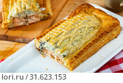 Купить «Traditional salmon in puff pastry», фото № 31623153, снято 18 мая 2019 г. (c) Яков Филимонов / Фотобанк Лори