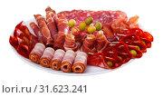 Купить «Assorted different types of spanish sausages», фото № 31623241, снято 18 июля 2019 г. (c) Яков Филимонов / Фотобанк Лори