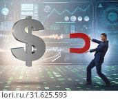 Купить «Businessman catching dollars on horseshoe magnet», фото № 31625593, снято 11 июля 2020 г. (c) Elnur / Фотобанк Лори