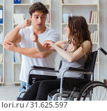 Купить «Patient undergoing rehabilitation recovery programme with doctor», фото № 31625597, снято 18 апреля 2017 г. (c) Elnur / Фотобанк Лори