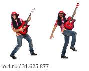 Купить «Male musician with guitar isolated on white», фото № 31625877, снято 17 февраля 2015 г. (c) Elnur / Фотобанк Лори