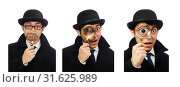 Купить «Sherlock Holmes with magnifying glass isolated on white», фото № 31625989, снято 6 февраля 2015 г. (c) Elnur / Фотобанк Лори