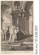 Group of columns which support two arches of a great courtyard.(Gruppo di Colonne, che regge due archi d'un grande Cortile.), ca. 1750, Etching, Plate... (2017 год). Редакционное фото, фотограф © Copyright Artokoloro Quint Lox Limited / age Fotostock / Фотобанк Лори