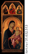Madonna and Child, ca. 1320, Tempera on wood, gold ground, Overall, with framing elements, 60 1/8 x 26 3/8 in. (152.7 x 67 cm), Madonna and Child, painted... (2017 год). Редакционное фото, фотограф © Copyright Artokoloro Quint Lox Limited / age Fotostock / Фотобанк Лори