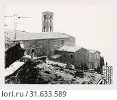 Tuscany Siena Montalcino Chiese, this is my Italy, the italian country of visual history, Medieval Views of two unidentified churches in Montalcino. Post... (2018 год). Редакционное фото, фотограф Liszt Collection / age Fotostock / Фотобанк Лори