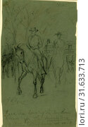 Genl. Lee leaving the McLean house after the surrender, 1865 April 9, drawing on green paper pencil, 23.5 x 13.3 cm. (sheet), The Alfred Waud American... (2014 год). Редакционное фото, фотограф Artokoloro / age Fotostock / Фотобанк Лори