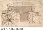 Купить «Design for a Carriage, 18th century, Pen and brown ink, brush and brown wash, over traces of black chalk, on cream laid paper, 3-3/4 x 5-7/8 in. (9.6 x...», фото № 31641181, снято 21 мая 2017 г. (c) age Fotostock / Фотобанк Лори