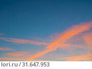 Купить «Небесный пейзаж. Sunset colorful sky background - orange dramatic colorful clouds lit by evening sunshine. Vast sunset sky landscape», фото № 31647953, снято 21 ноября 2018 г. (c) Зезелина Марина / Фотобанк Лори