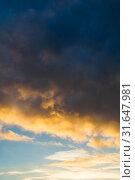 Купить «Небесный пейзаж. Sunset colorful sky background - pink, orange and blue dramatic colorful clouds lit by evening sunshine. Sky landscape», фото № 31647981, снято 21 ноября 2018 г. (c) Зезелина Марина / Фотобанк Лори