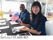 Купить «Business people sitting at conference registration table», фото № 31649401, снято 16 марта 2019 г. (c) Wavebreak Media / Фотобанк Лори