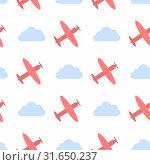 Vector seamless pattern with clouds and planes. Стоковая иллюстрация, иллюстратор Альдана Прокофьева / Фотобанк Лори
