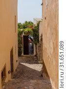 Купить «View of street fortified town Monemvasia (Laconia, Greece, Peloponnese)», фото № 31651089, снято 15 июня 2019 г. (c) Татьяна Ляпи / Фотобанк Лори