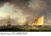 Cutter Close Hauled in a Fresh Breeze, with Other Shipping, Charles Brooking, 1723-1759, British (2014 год). Редакционное фото, фотограф Artokoloro / age Fotostock / Фотобанк Лори