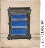 Купить «Design for a Black Cabinet with a Blue Interior, 19th century, Ink and watercolor, sheet: 5 1/2 x 4 5/8 in. (13.9 x 11.8 cm), Anonymous, British, 19th century», фото № 31668361, снято 26 апреля 2017 г. (c) age Fotostock / Фотобанк Лори