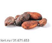 Купить «Raw cacao beans isolated white», фото № 31671653, снято 10 апреля 2018 г. (c) Ольга Сергеева / Фотобанк Лори