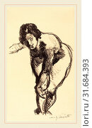 Lovis Corinth, Nude Bending Forward (Gebeugter Akt), German, 1858-1925, 1916, lithograph in black on textured wove paper (2011 год). Редакционное фото, фотограф Artokoloro / age Fotostock / Фотобанк Лори