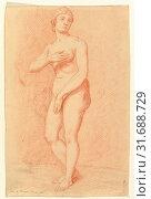 Standing Female Nude (after the Medici Venus), 1805, Red chalk, sheet: 8 9/16 x 5 9/16 in. (21.7 x 14.2 cm), Drawings, Christian Daniel Rauch (German, Arolsen 1777–1857 Dresden) (2017 год). Редакционное фото, фотограф © Copyright Artokoloro Quint Lox Limited / age Fotostock / Фотобанк Лори