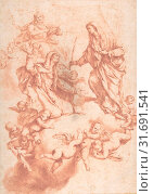 Saint Anne Received in Heaven by Christ and the Virgin, 1634–1705, Red chalk on cream paper, 14-5/16 x 10-1/4 in. (36.4 x 26.0 cm), Drawings, After Luca Giordano (Italian, Naples 1634–1705 Naples) (2017 год). Редакционное фото, фотограф © Copyright Artokoloro Quint Lox Limited / age Fotostock / Фотобанк Лори