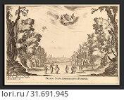Stefano Della Bella (Italian, 1610 - 1664), Prima Scena Representanta Firenza, 1637, etching on laid paper [restrike] (2011 год). Редакционное фото, фотограф Artokoloro / age Fotostock / Фотобанк Лори